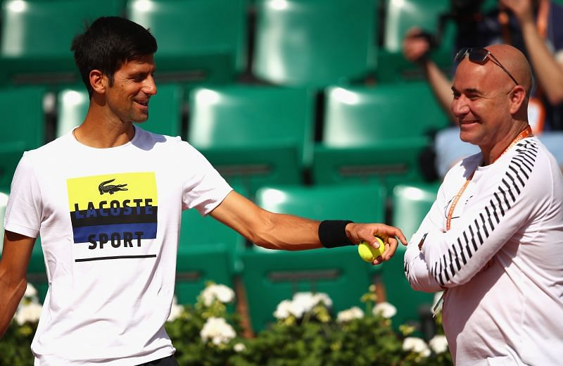 Andre Agassi with Novak Djokovic at the 2017 French Open