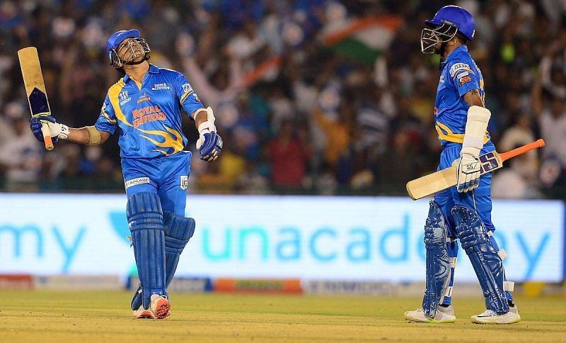 Sachin Tendulkar playing for the India Legends.