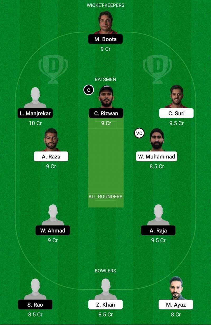 FUJ vs EMB Dream11 Team - Emirates D10 League