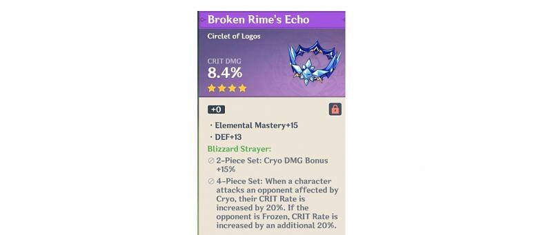 Blizzard Strayer Artifact set bonuses in Genshin Impact (Image via Genshin Impact)