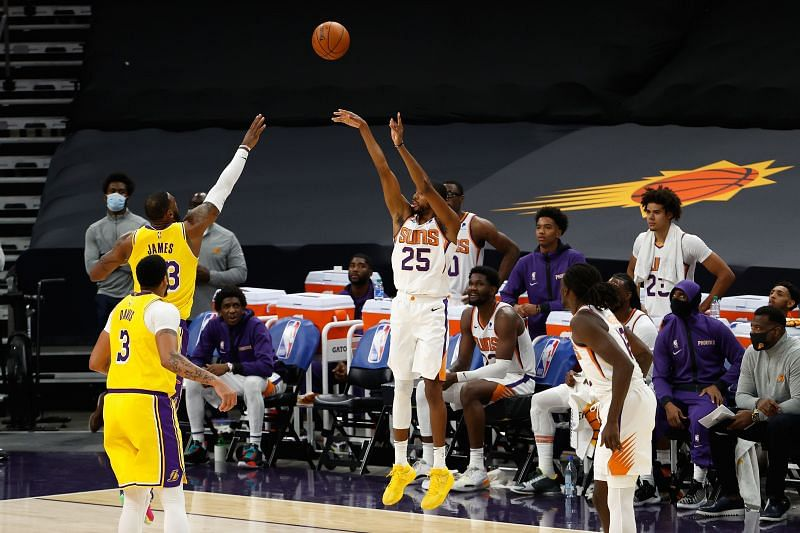 Mikal Bridges #25 attempts a three-point shot against the Los Angeles Lakers. (Photo by Christian Petersen/Getty Images)