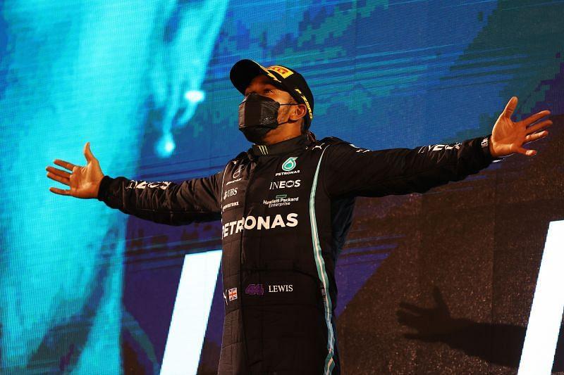 Hamilton won his 96th race in Bahrain. Photo: Bryn Lennon/Getty Images.