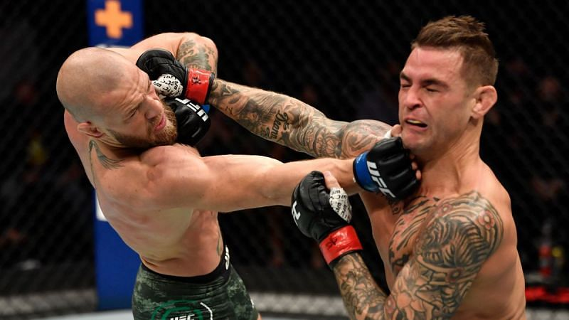 Conor McGregor (left) and Dustin Poirier (right) at UFC 257