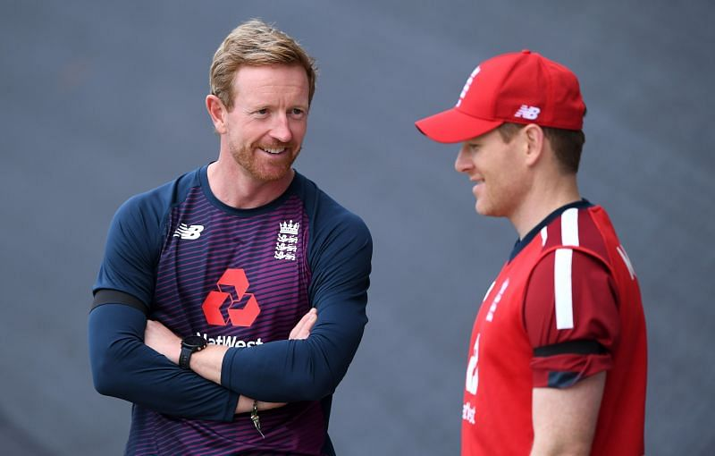 Paul Collingwood with Eoin Morgan.
