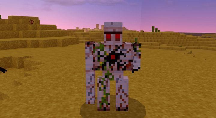 Minecraft Iron Golem with low health (Image via mcpeaddons.com)