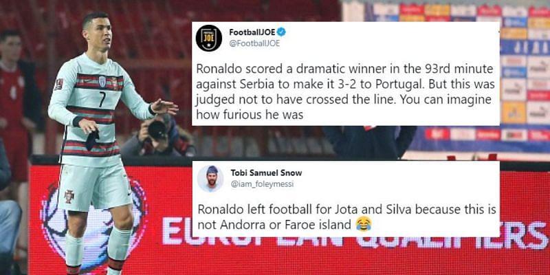Cristiano Ronaldo was controversially denied a late winner for Portugal