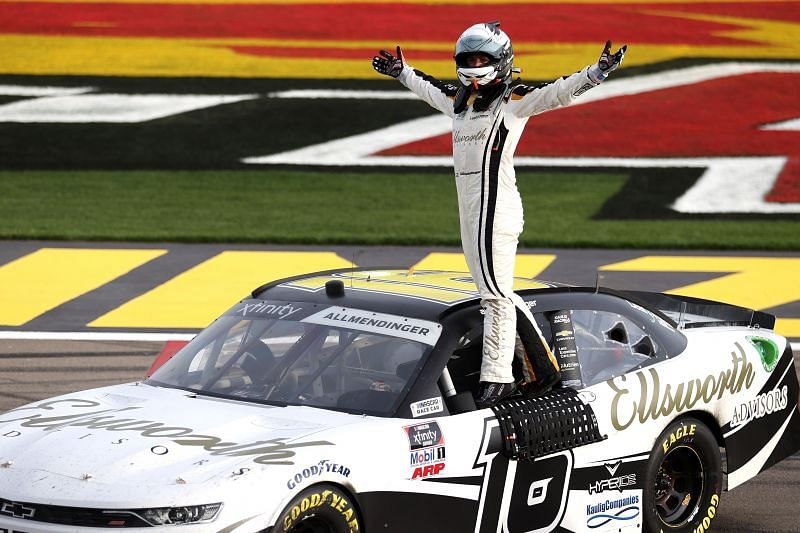 AJ Allmendinger celebratees his win in the NASCAR Xfinity Series Alsco Uniforms 300 at Las Vegas. Photo/Getty Images