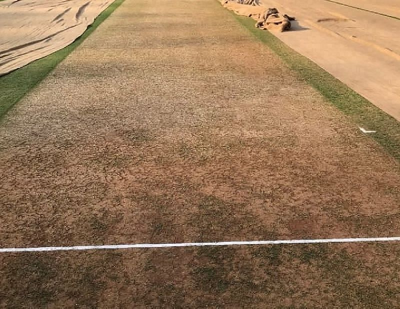 The Ahmedabad wicket for the 3rd India-England Test. [Credits: Twitter]