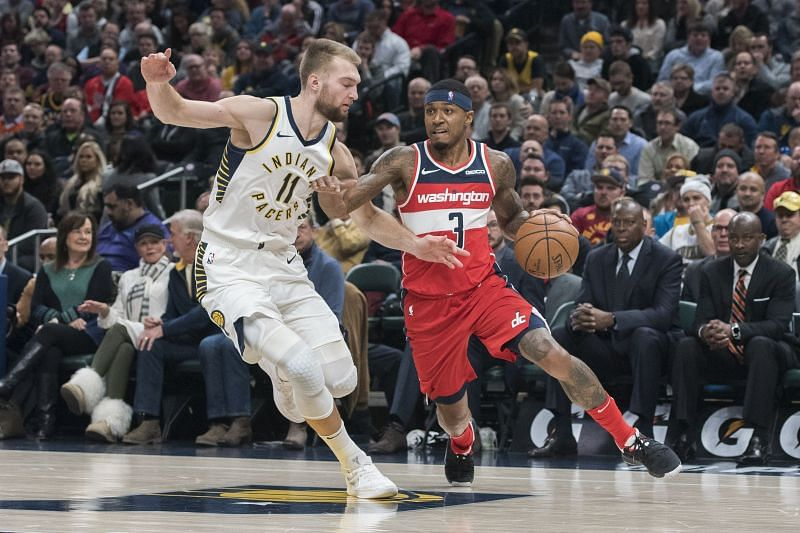 Bradley Beal of the Washington Wizards and Domantas Sabonis of the Indiana Pacers