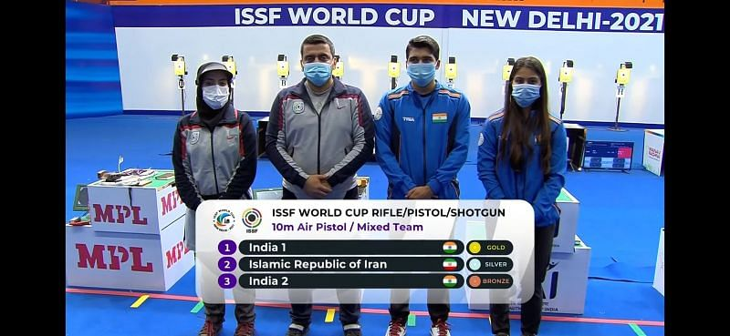 ISSF World Cup 2021, 10m Air Pistol mixed final (Image courtesy: ISSF)