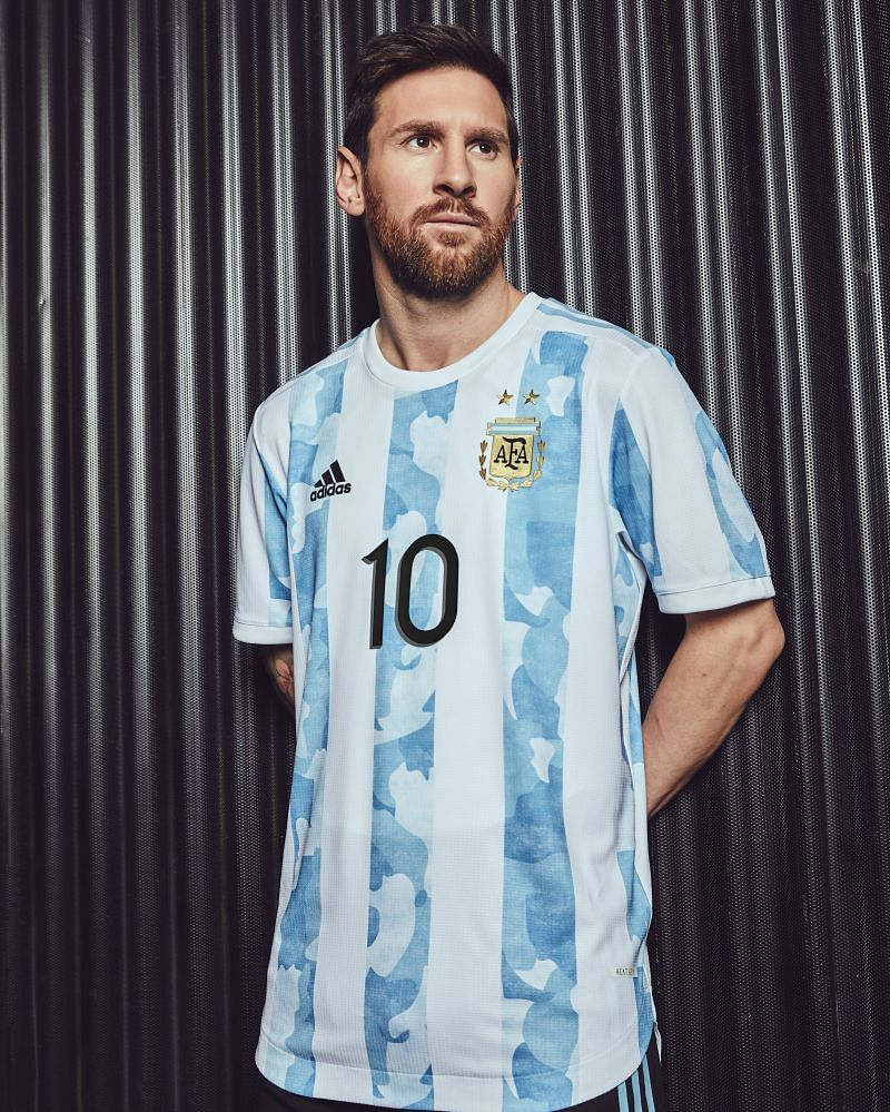Lionel Messi styling the new Argentina Home Kit
