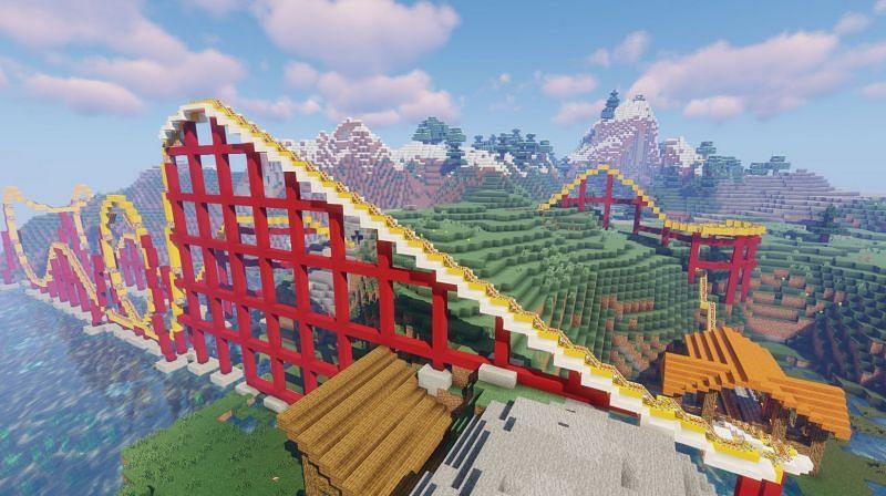 A super cool rollercoaster with useable loops (Image via u/pizza_burrit0 on Reddit)
