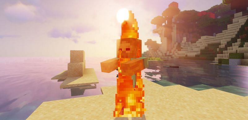 Shown: A zombie cleaned by the sun's rays (Image via Minecraft)