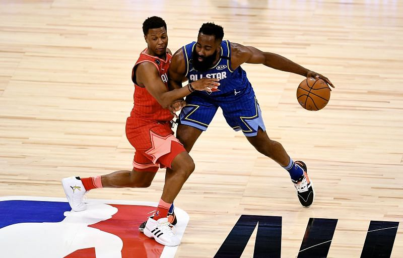 James Harden #2 of Team LeBron dribbles the ball while being guarded by Kyle Lowry #24 of Team Giannis during the 69th NBA All-Star Game. (Photo by Stacy Revere/Getty Images)