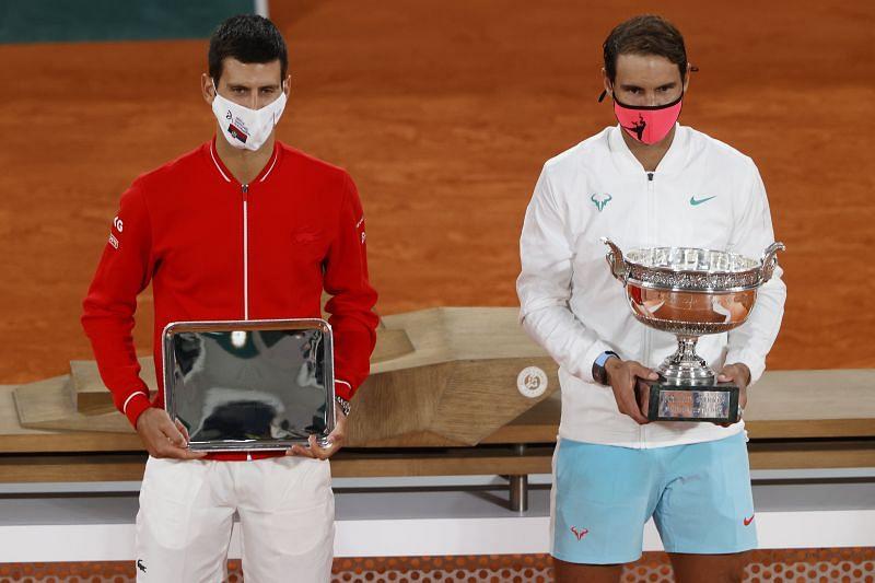 Novak Djokovic and Rafael Nadal at the 2020 Roland Garros