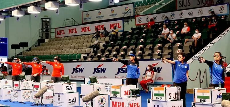 Shooters in action at 2021 ISSF World Cup In New Delhi