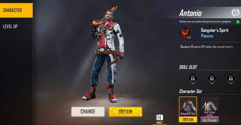 Antonio character in Free Fire
