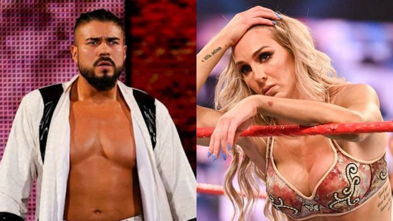 Andrade (left); Charlotte Flair (right)