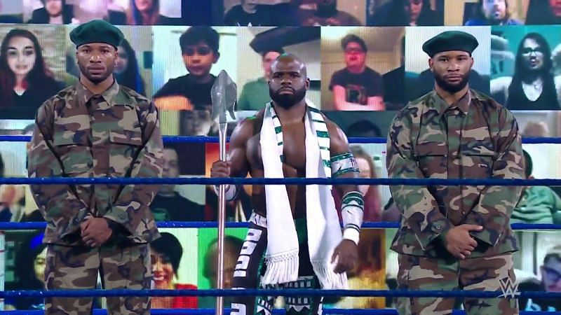 Apollo Crews with his Nigerian elite guards