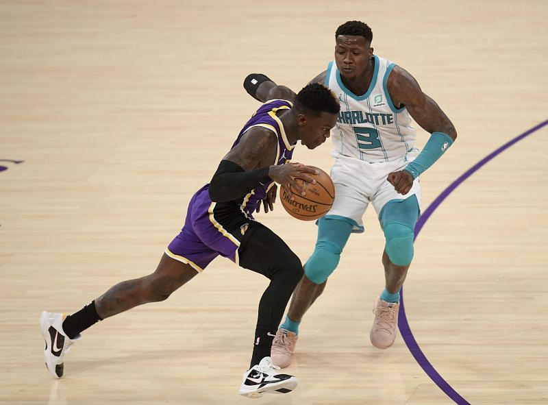Terry Rozier in action for the Charlotte Hornets against the LA Lakers