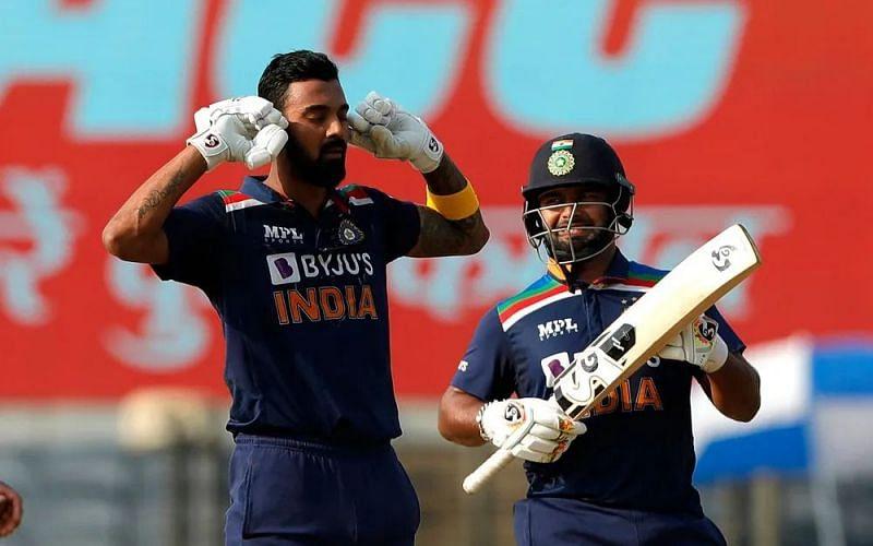 KL Rahul celebrates his fifth ODI century.