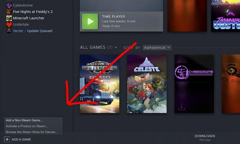 Ajouter un jeu (Image via Steam)