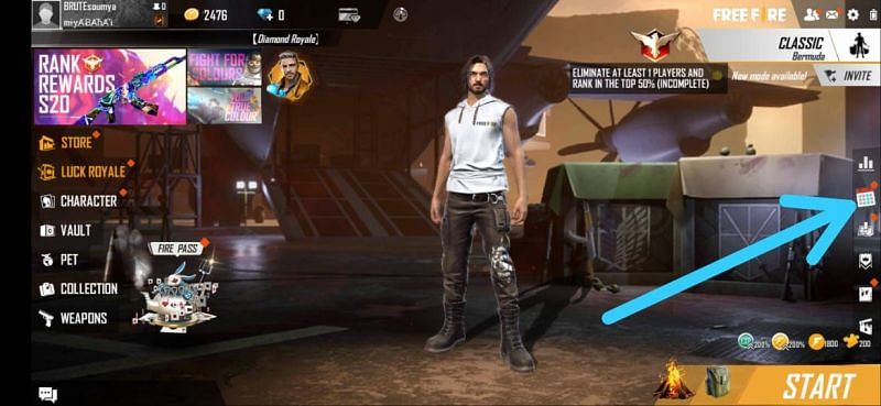 Log in to Free Fire and go to the events tab
