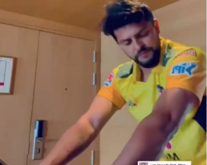 Suresh Raina and other CSK players train in their hotel rooms | Image: CSK Instagram
