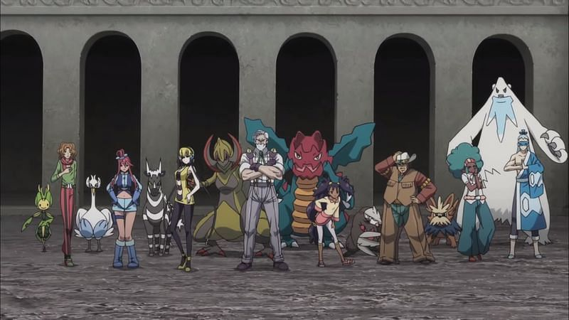 Several of the Unova region Gym Leaders in the anime (Image via The Pokemon Company)