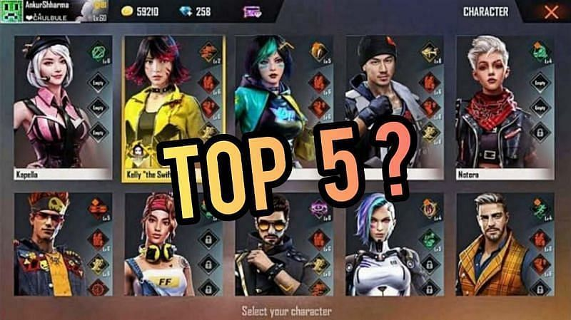 Top 5 characters in Free Fire