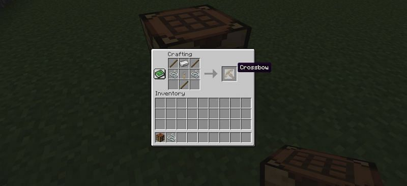 Crafting a crossbow in Minecraft (Image via Minecraft)
