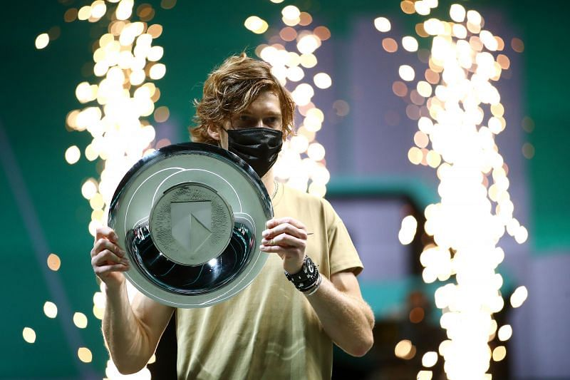 Andrey Rublev with the Rotterdam trophy