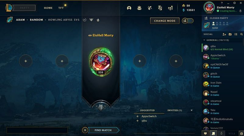 League of Legends bug not showing friends in the lobby (Image via Riot Games)