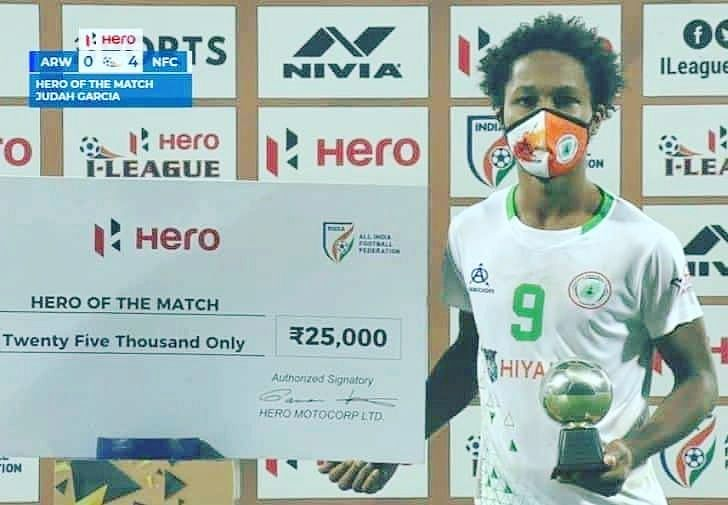 Judah Garcia is awarded the Hero of the Match after an I-League match (Image Credits: I-League Media)
