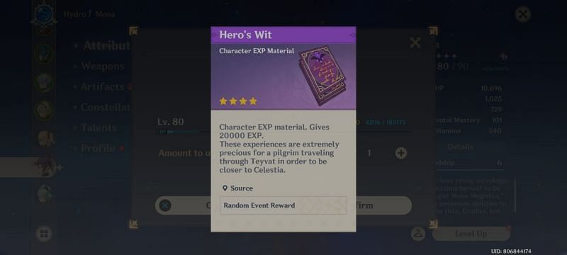 Hero's Wits- Character EXP material