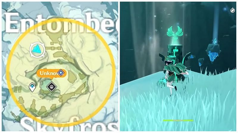 Anemo monument in Skyfrost Nail (Image via Gamers Heroes, YouTube)
