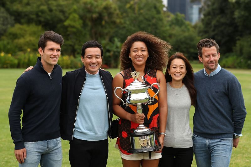 Naomi Osaka with her team after winning the 2021 Australian Open title