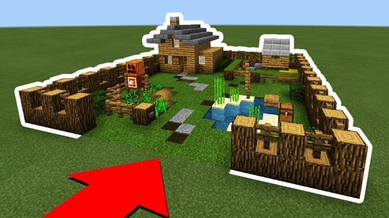 Fenced in Minecraft house (Image via Pinterest)