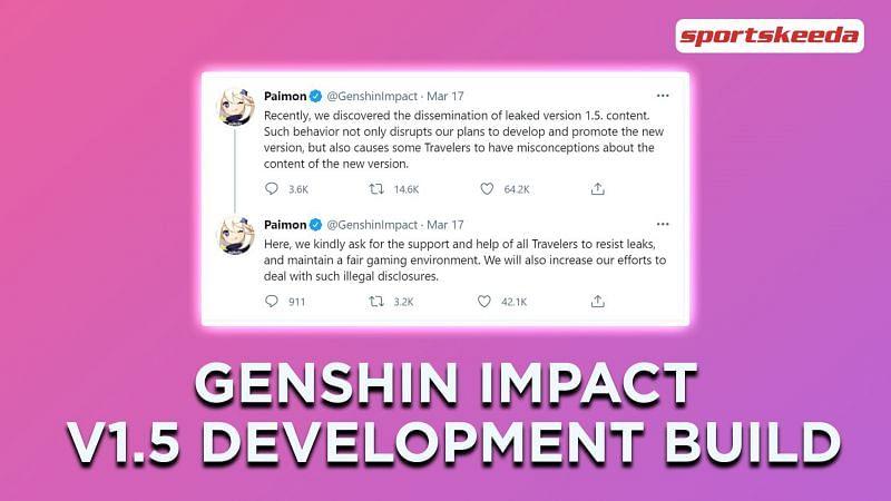 Genshin Impact 1.5 Beta development build leaked