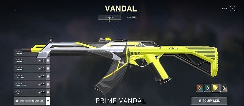Prime Vandal Variant unlocked at level 7 (Screengrab via Valorant)