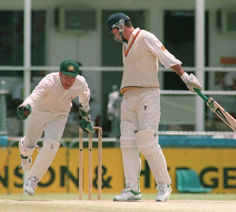 Ian Healy in action versus England in Ashes 1994
