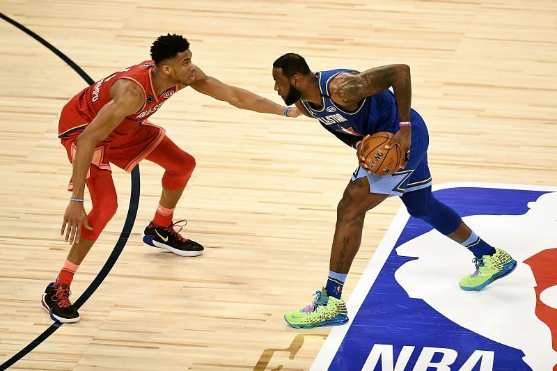 LeBron James #2 of Team LeBron handles the ball while being guarded by Giannis Antetokounmpo #24 of Team Giannis in the fourth quarter during the 69th NBA All-Star Game. (Photo by Stacy Revere/Getty Images)