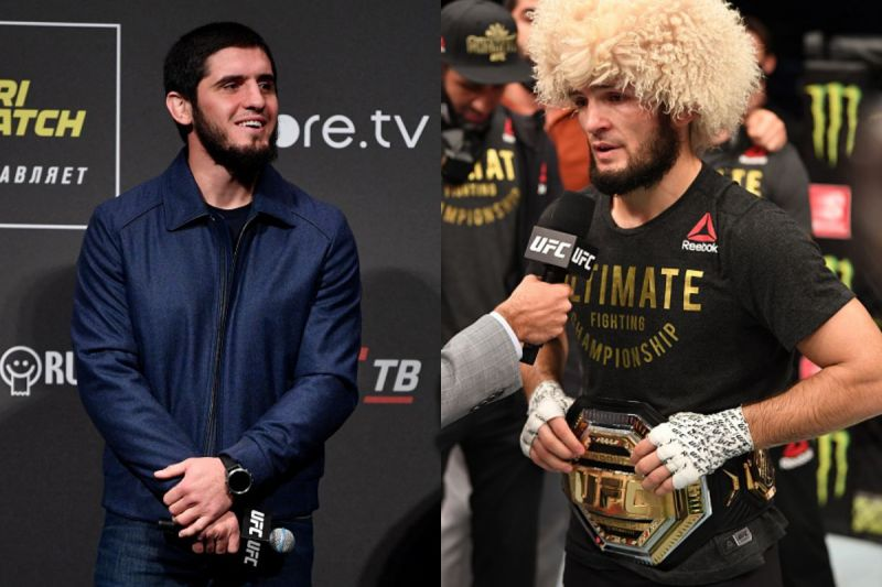 Islam Makhachev (left) wants to attain the title after  Khabib Nurmagomedov relinqushes it