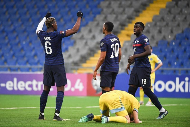 France overcame Kazakhstan to pick up their first win of the qualifying campaign.