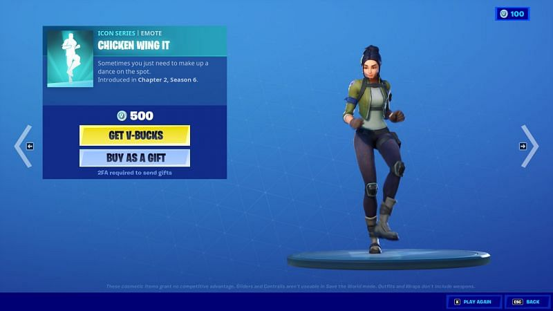 The Chicken Wing can be purchased for 500 V-bucks in-game (Image Via Epic Games/Fortnite)