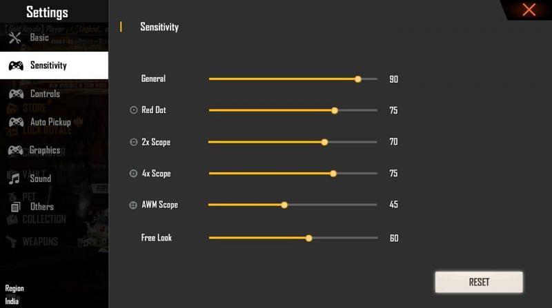 Sensitivity settings