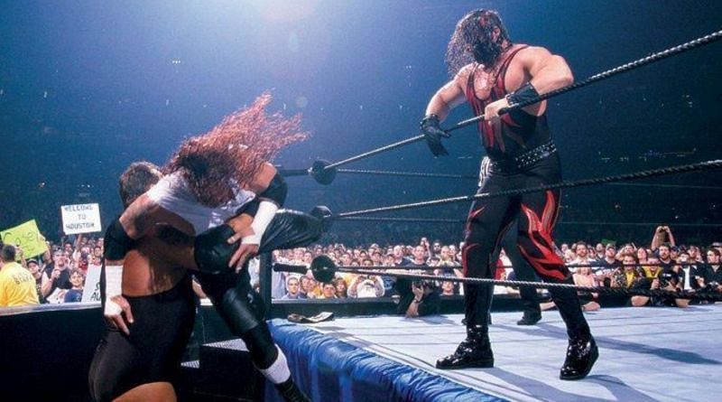 Kane faced The Big Show and Raven in a triple threat match for the Hardcore Championship at WrestleMania 17