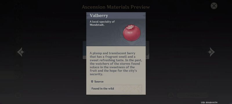 Valberry- Character level up material