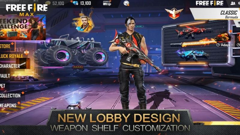 Players can customize their lobby in the new game (Image via Free Fire Max)