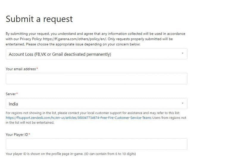 The form to submit the request (Picture Courtesy: ffsupport.zendesk.com)